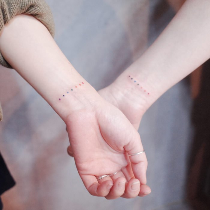 Tattoos to share with your friends with a dotted line of yellow, blue, red, green, purple colors