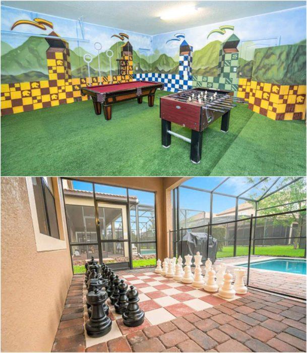 Habitaciones decoradas con mesas de juegos y ajedrez gigante