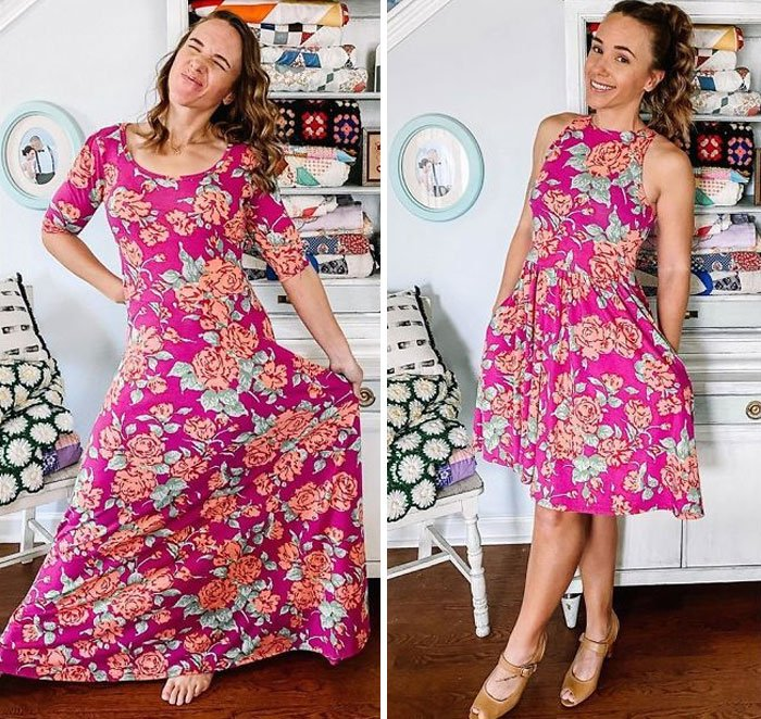 Chica antes y después de convertir un vestido rosa fuscia de lycra con flores amarillas y naranjas