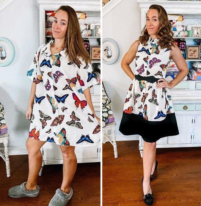 Chica antes y después de convertir una camisa larga blanca con mariposas de colores en un vestido corto