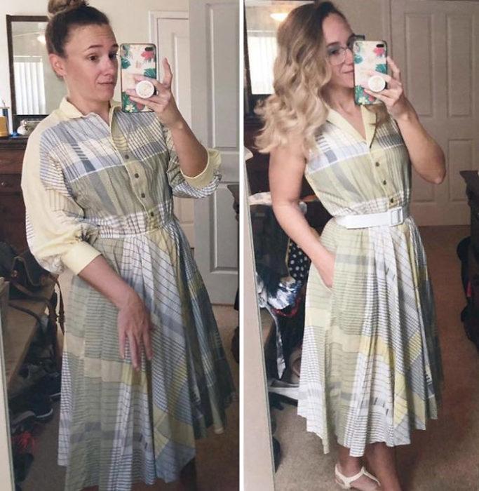 Chica antes y después de convertir un vestido a cuadros en tonos verdes y amarillos