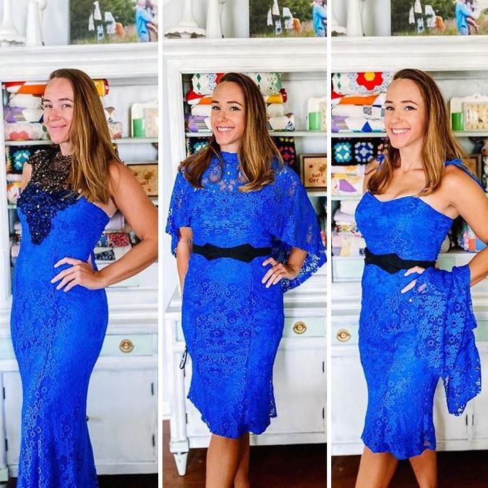 Chica antes y después de convertir un vestido azul rey con encaje