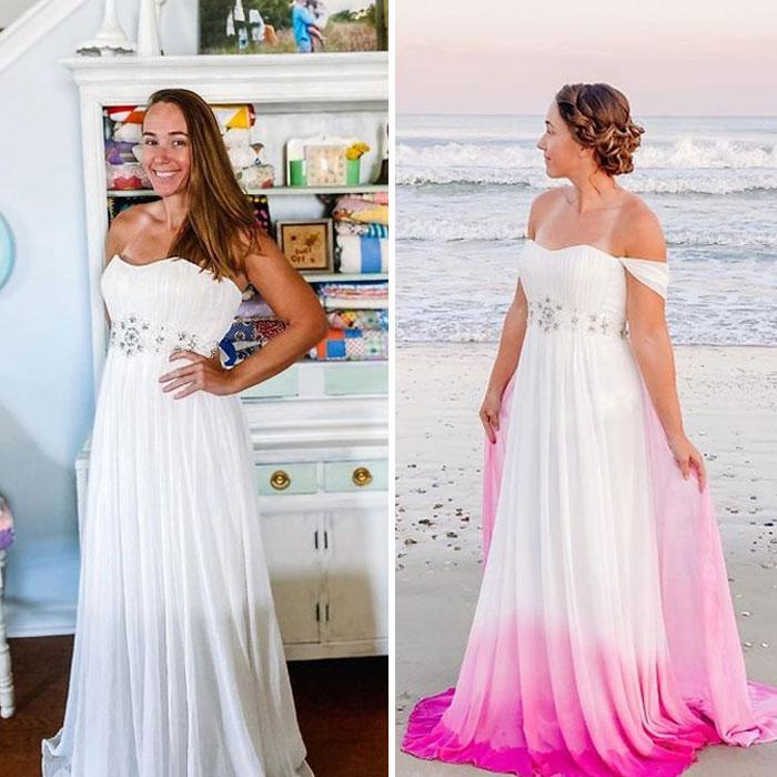 Chica antes y después de convertir un vestido blanco y largo