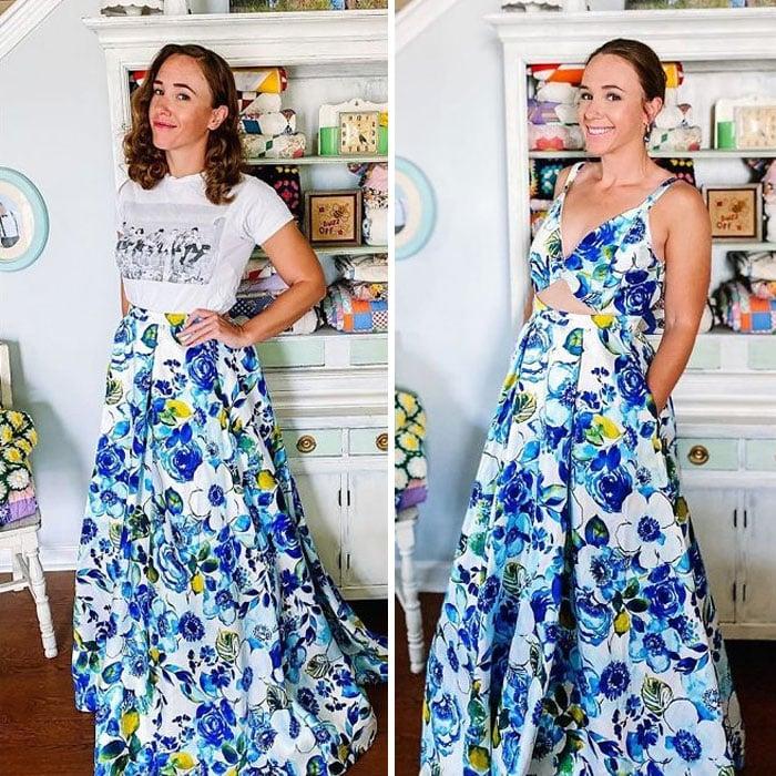 Chica antes y después de convertir una falda larga con flores azules en un vestido largo con top