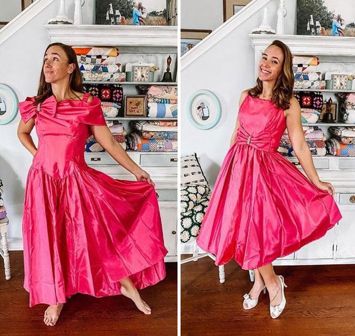 Chica antes y después de convertir un vestido de fiesta roja fuscia