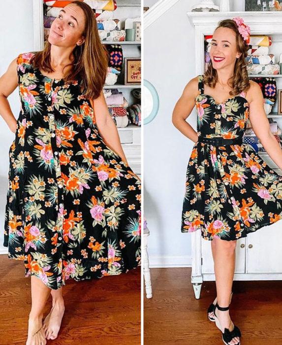 Chica antes y después de convertir un vestido negro con flores rosas, naranjas y verdes