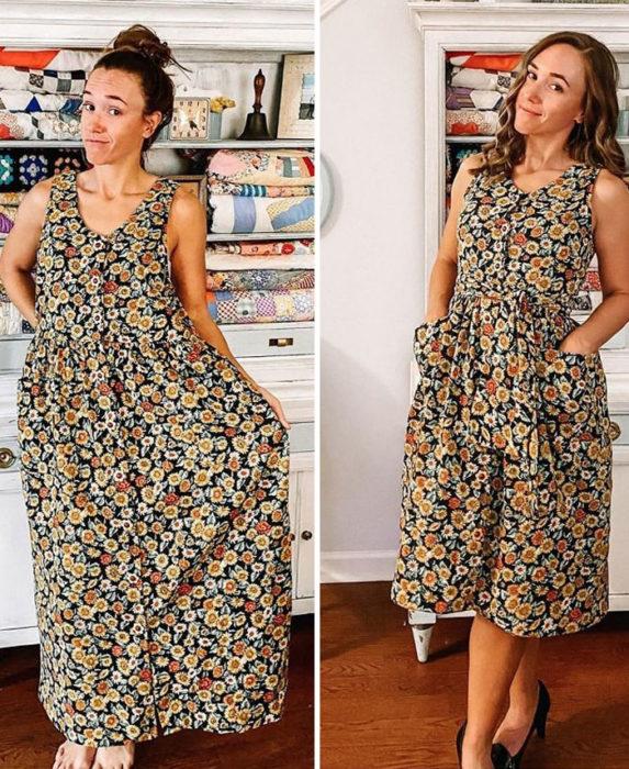 Chica antes y después de convertir un vestido largo con flores amarillas y cafés