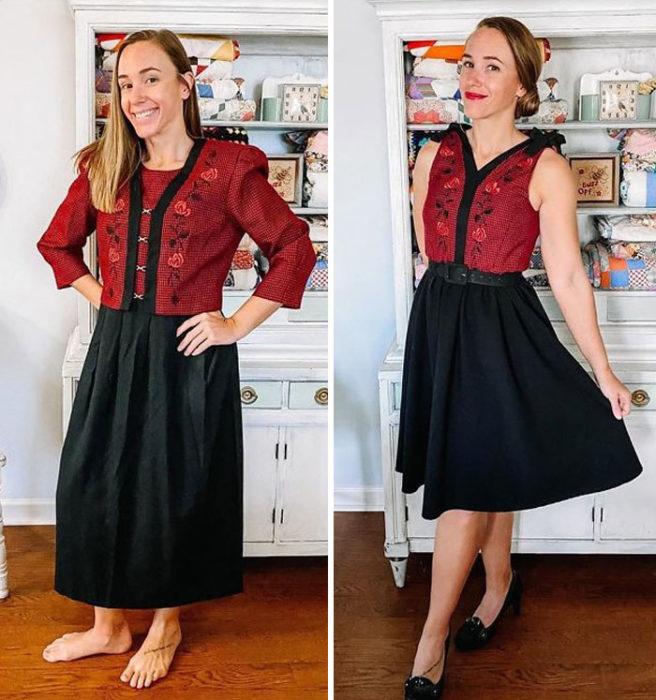 Chica antes y después de convertir un vestido grande con falda negra y top rojo
