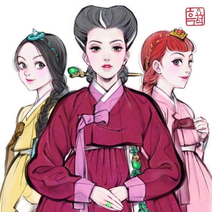Ilustración digital de Tremaine, Anastasia y Drizella de La Cenicienta
