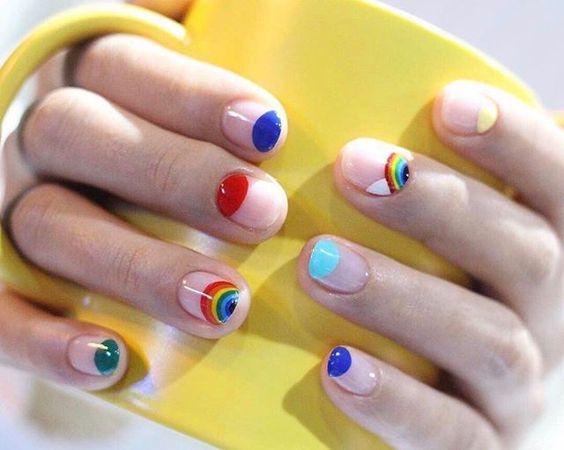 Rainbow style colorful nail polish