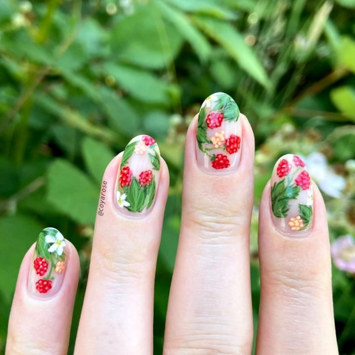 Flower manicure; raspberry nails