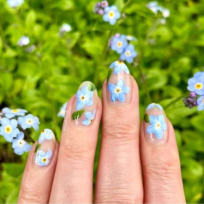 Flower manicure; Forget Me Not Blue Nails