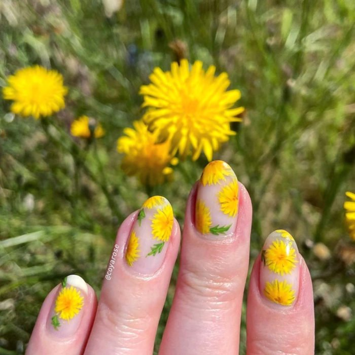 Flower manicure; yellow dandelion nails