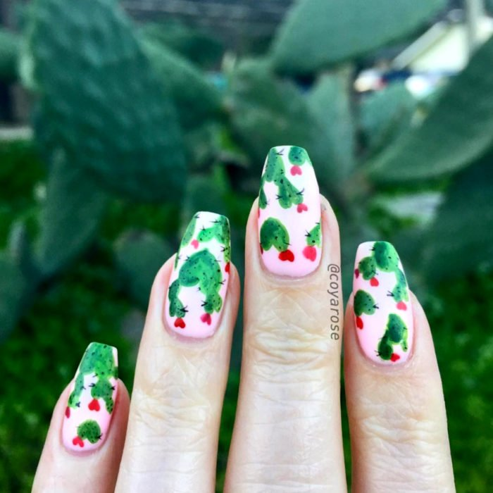 Flower manicure; cactus nails