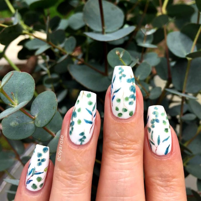 Flower manicure; eucalyptus nails