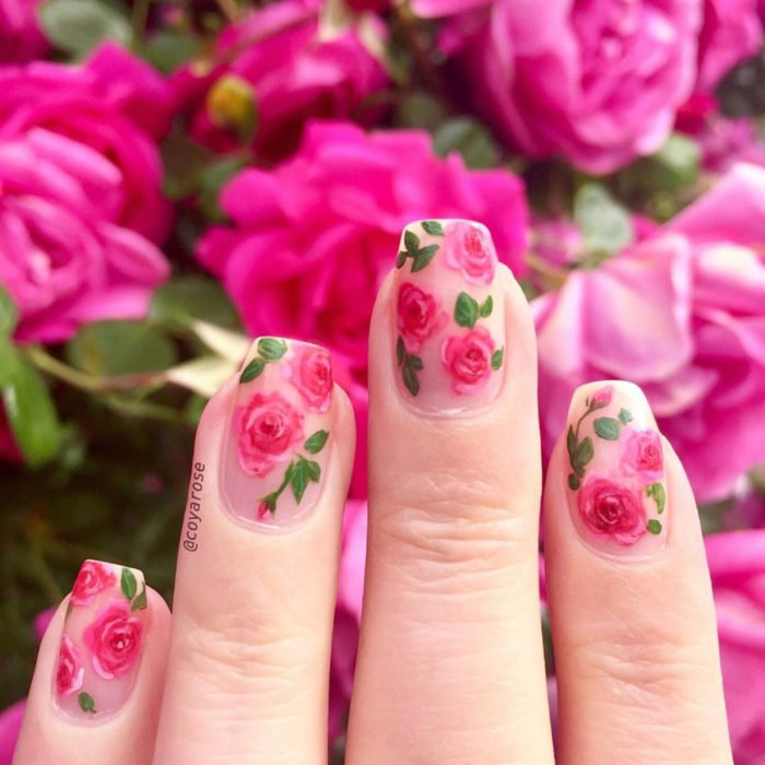 Flower manicure; rose bush nails