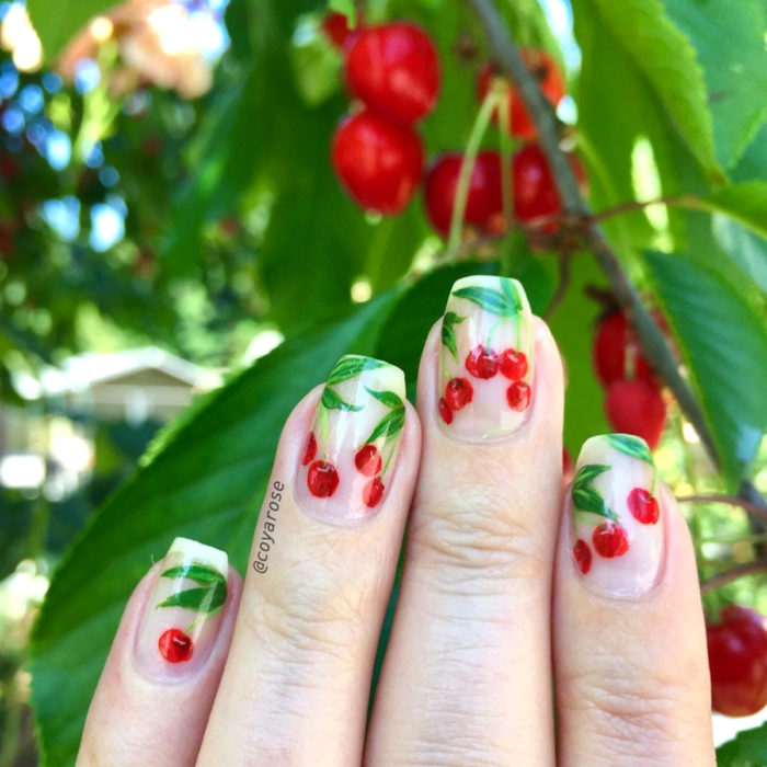 Flower manicure; cherry nails
