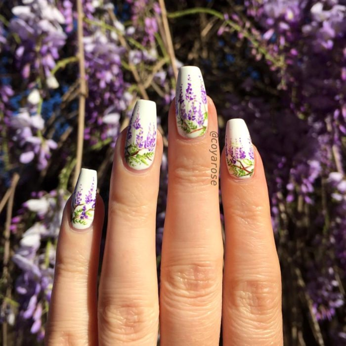 Flower manicure; wisteria nails
