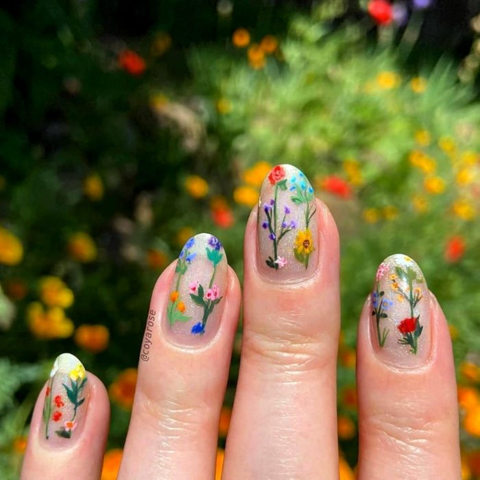 Flower manicure; wild flower nails