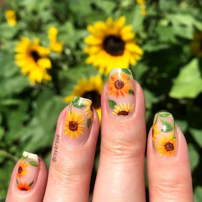 Flower manicure; sunflower nails
