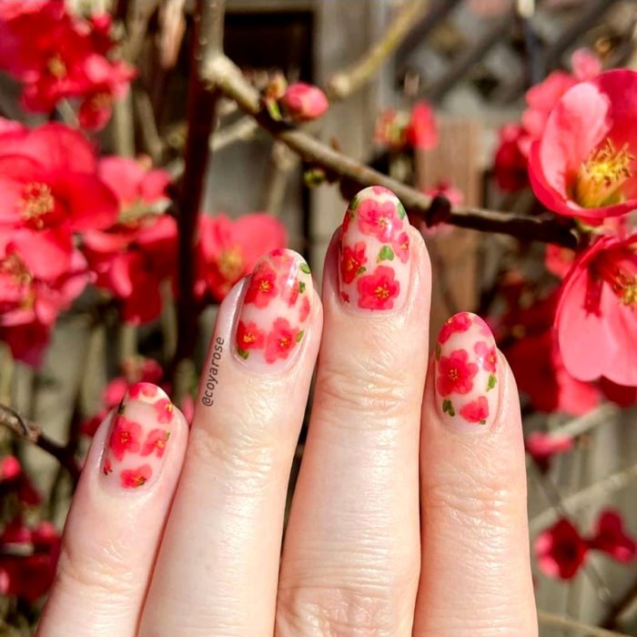 Flower manicure; nails with chaenomeles design, red