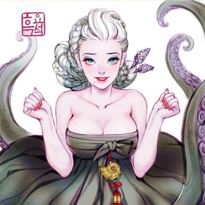 Ilustración digital de Ursula de La Sirenita