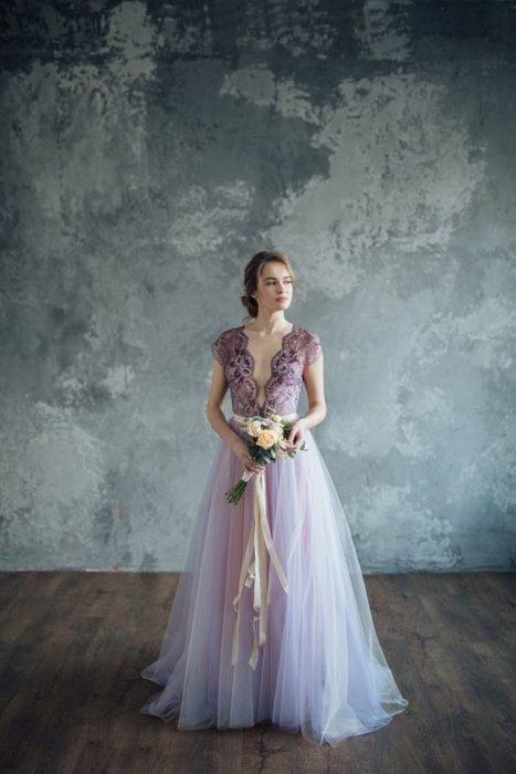 Bride poses in lavender dress
