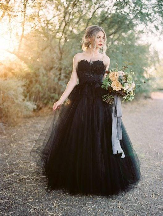 Bride in black dress
