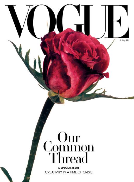 Portada de Vogue con una rosa en ella