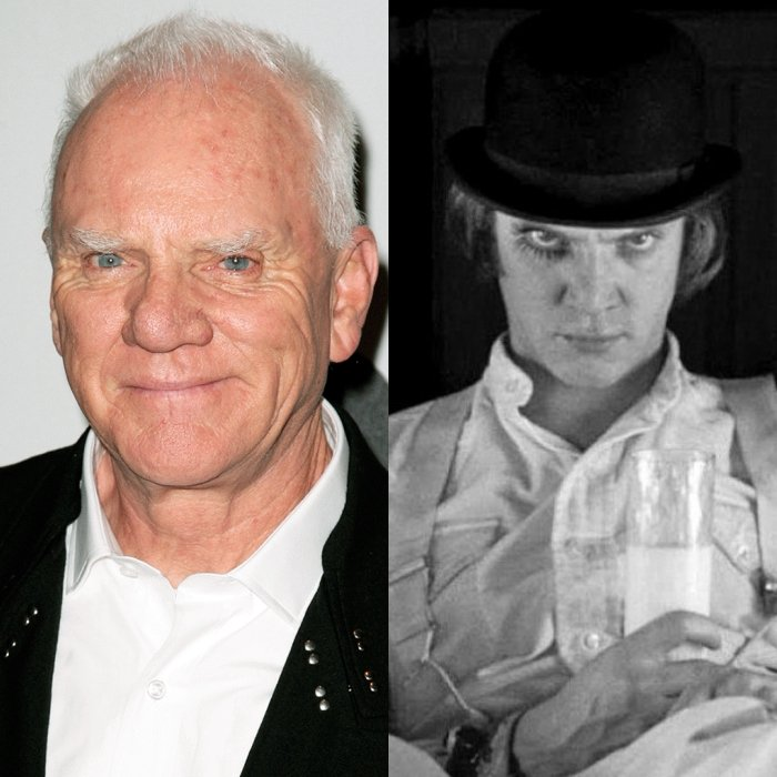 actor Malcolm McDowell en La Naranja Mecánica