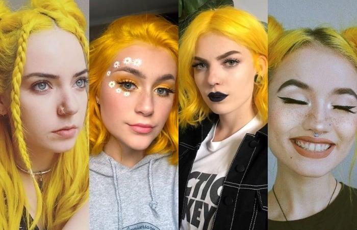 chicas con cabello amarillo neón
