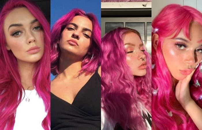 chicas con cabello teñido color rosa intenso, bright pink o fuscia