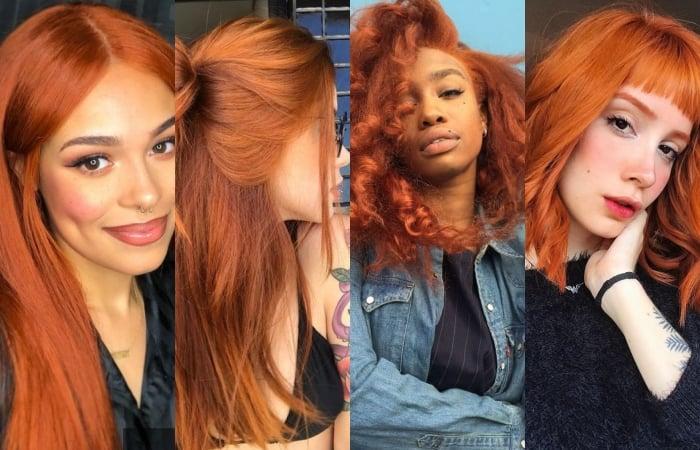 chicas con el cabello teñido color cobre copper red hair