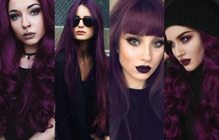 chicas con cabello teñido color morado intenso, dark purple