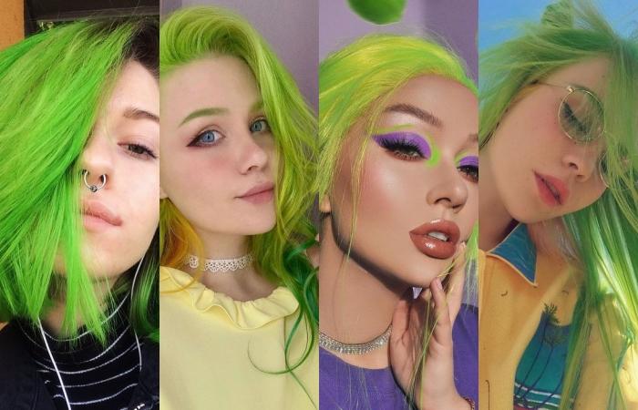 chicas con cabello teñido color verde lima o verde neón