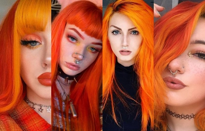 chicas con cabello teñido color naranja brillante o naranja neón bright orange