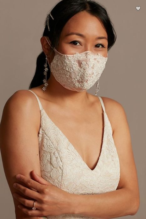 Bride with face mask