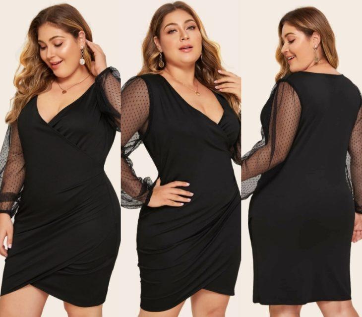 chica con vestido negro, cabllo largo claro, plus size curvy de mangas transparentes y escote en v