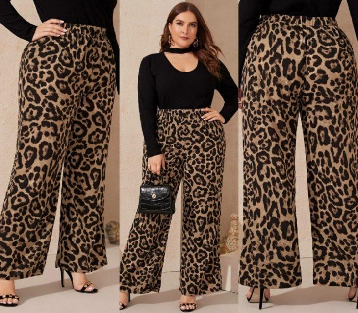 pantalon tipo palazzo de animal print, chica curvy con cabello claro y bolso negro de piel, sandalias de tacon negras