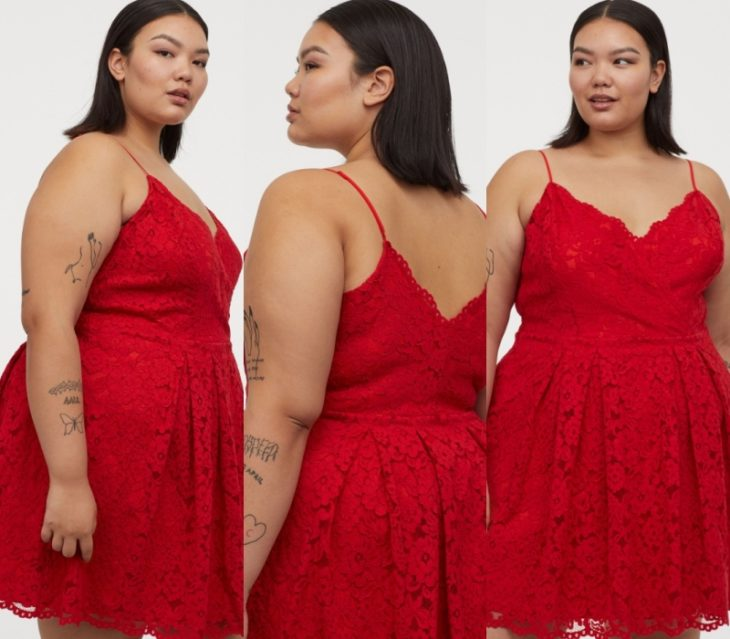 chica curvy con cabello oscuro corto, usando un vestido rojo de tirantes con encaje y escote en v