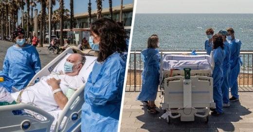 Médicos españoles llevan a sus pacientes a la playa para su recuperación