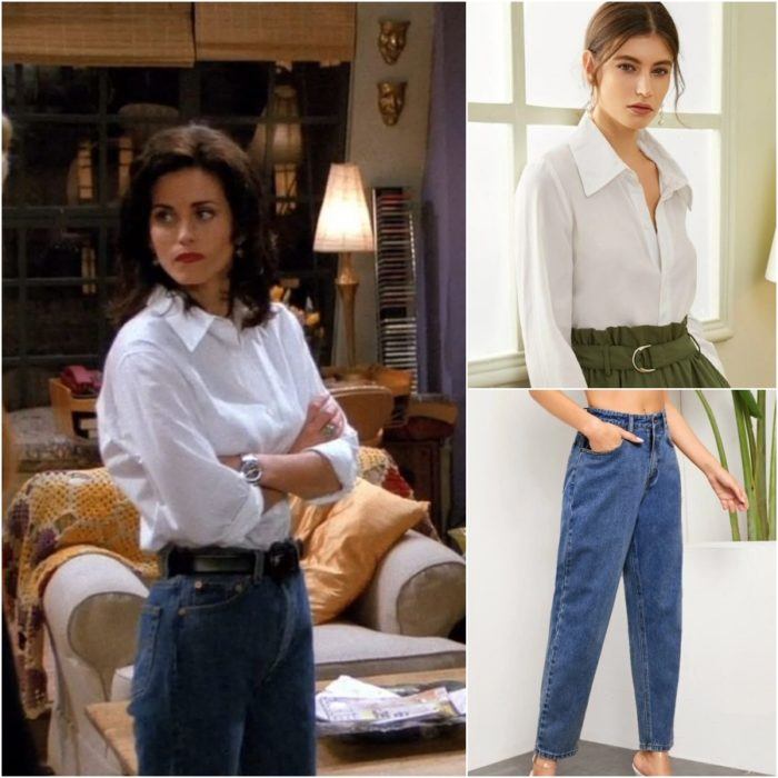actriz courteney cox como monica geller en la serie friends usando pantalon de mezclilla y camisa blanca