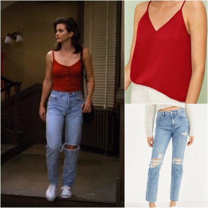 actriz corteney cox como monica geller en la serie friends usando un pantalon de mezclilla y blusa roja
