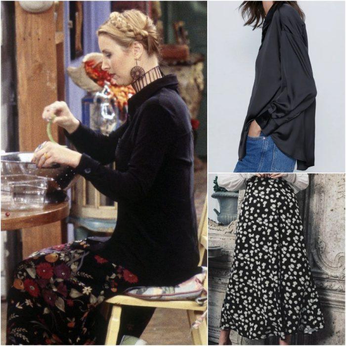 actriz lisa kudrow como phoebe buffay en la serie friends usando una falda estampada y camisa de botones negra
