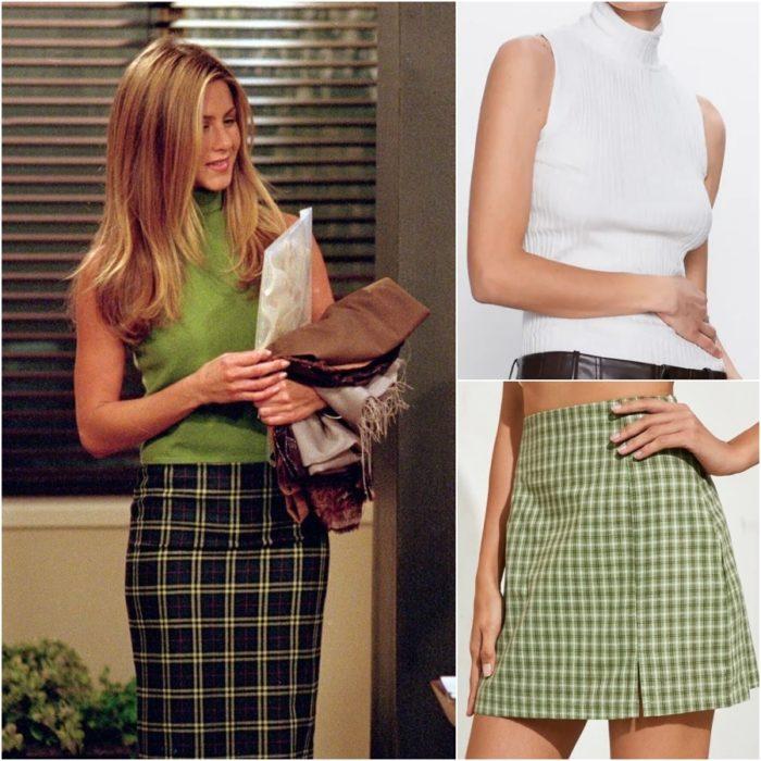 actriz jennifer aniston como rachel green en la serie friends usando una falda a cuadros color verde