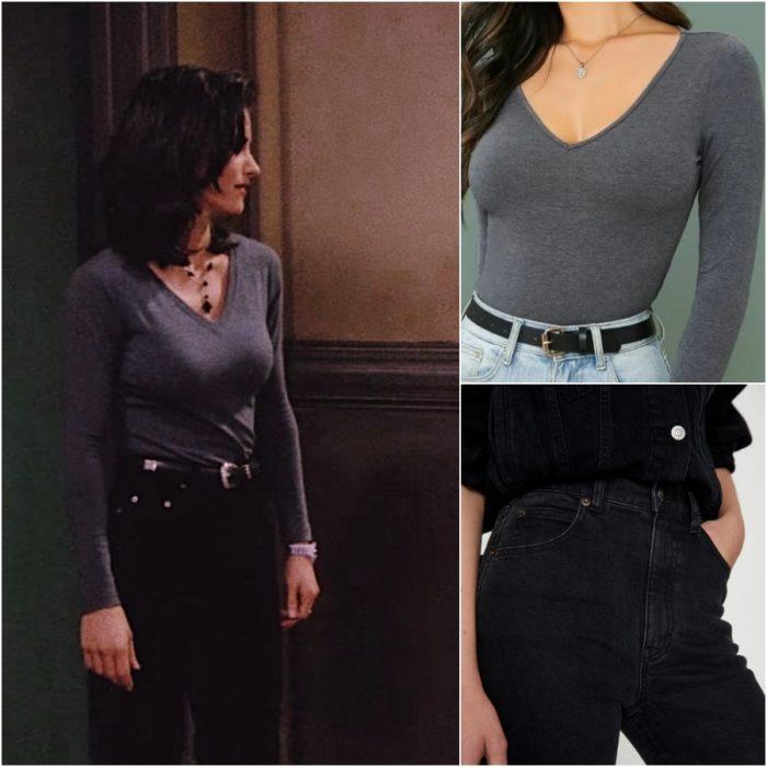 actriz courteney cox como monica geller en la serie friends usando un top gris y jeans negros