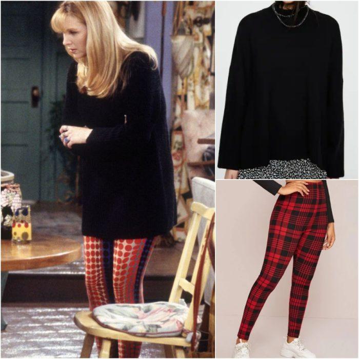 actriz lisa kudrow como phoebe buffay en la serie friends usando leggings estampados y suéter negro
