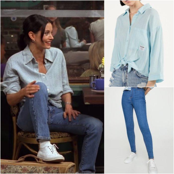 actriz courteney cox como monica geller en la serie friends usando una camisa azul y pantalones de mezcilla