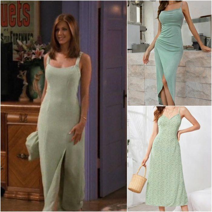 actriz jennifer aniston como rachel green en la serie friends con un vestido color menta