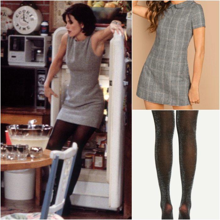 actriz courteney cox como monica geller en la serie friends con vestido gris y medias negras